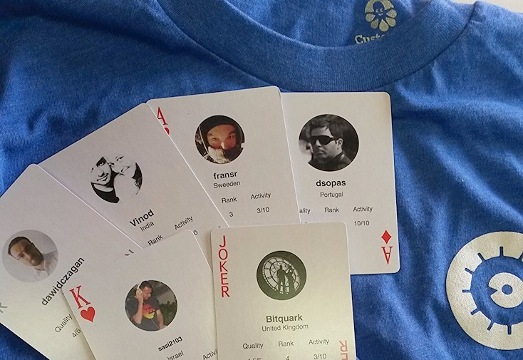 Tshirt, deck of cards and stickers from Cobalt.io