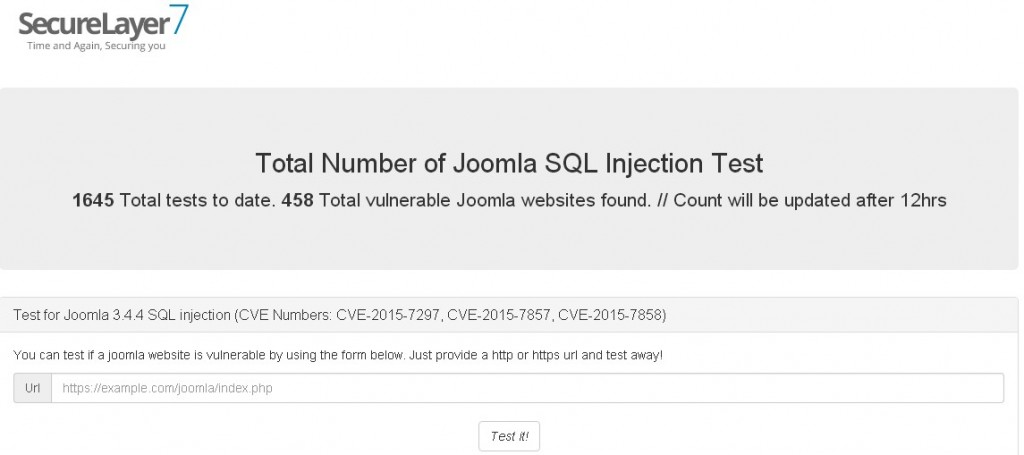 Detect the latest Joomla! SQL Injection vulnerability online